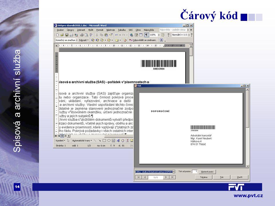 14 www.pvt.cz Spisová a archivní služba Čárový kód