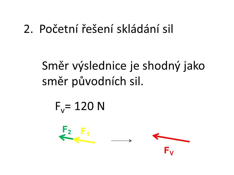 2.Početní řešení skládání sil Směr výslednice je shodný jako směr původních sil.