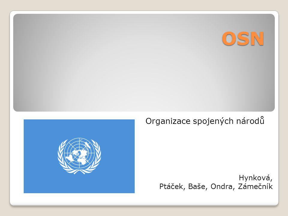 OSN Organizace spojených národů Hynková, Ptáček, Baše, Ondra, Zámečník