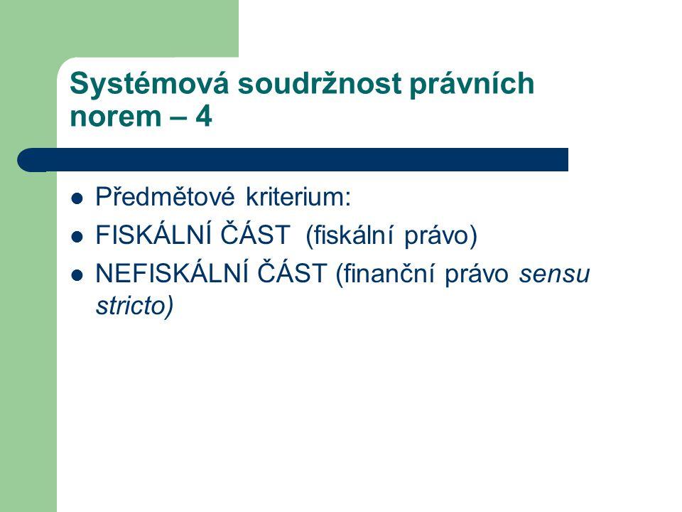 Systémová soudržnost právních norem – 4 Předmětové kriterium: FISKÁLNÍ ČÁST (fiskální právo) NEFISKÁLNÍ ČÁST (finanční právo sensu stricto)