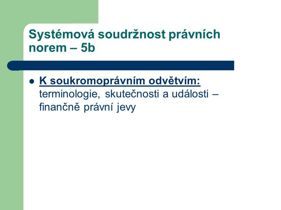 Systémová soudržnost právních norem – 5b K soukromoprávním odvětvím: terminologie, skutečnosti a události – finančně právní jevy