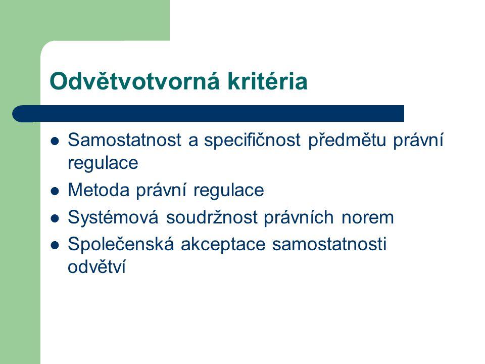 Odvětvotvorná kritéria Samostatnost a specifičnost předmětu právní regulace Metoda právní regulace Systémová soudržnost právních norem Společenská akc