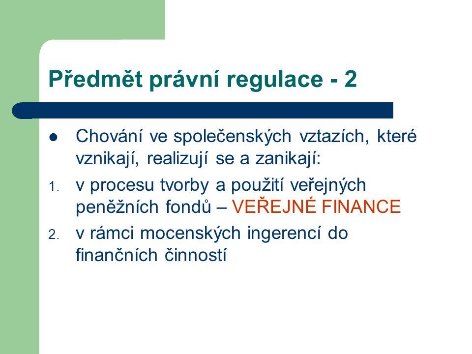 Předmět právní regulace - 2 Chování ve společenských vztazích, které vznikají, realizují se a zanikají: 1. v procesu tvorby a použití veřejných peněžn