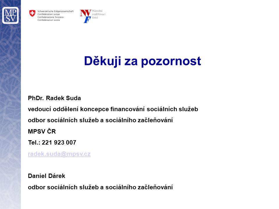 Děkuji za pozornost PhDr. Radek Suda vedoucí oddělení koncepce financování sociálních služeb odbor sociálních služeb a sociálního začleňování MPSV ČR