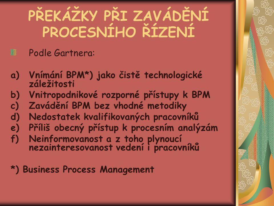 PŘEKÁŽKY PŘI ZAVÁDĚNÍ PROCESNÍHO ŘÍZENÍ Podle Gartnera: a)Vnímání BPM*) jako čistě technologické záležitosti b)Vnitropodnikové rozporné přístupy k BPM