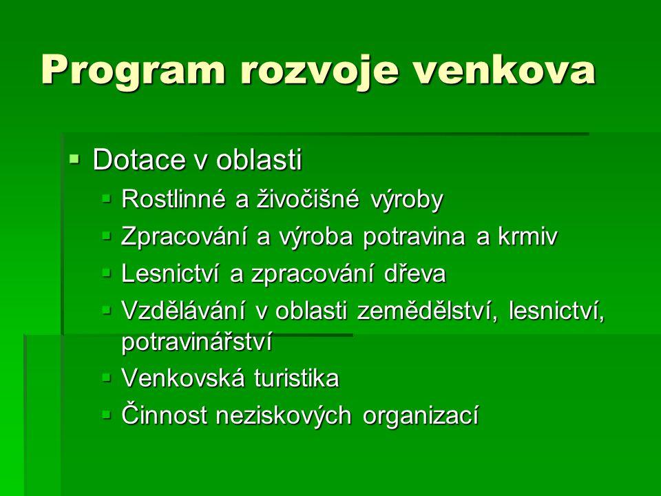 Program rozvoje venkova  Dotace v oblasti  Rostlinné a živočišné výroby  Zpracování a výroba potravina a krmiv  Lesnictví a zpracování dřeva  Vzd