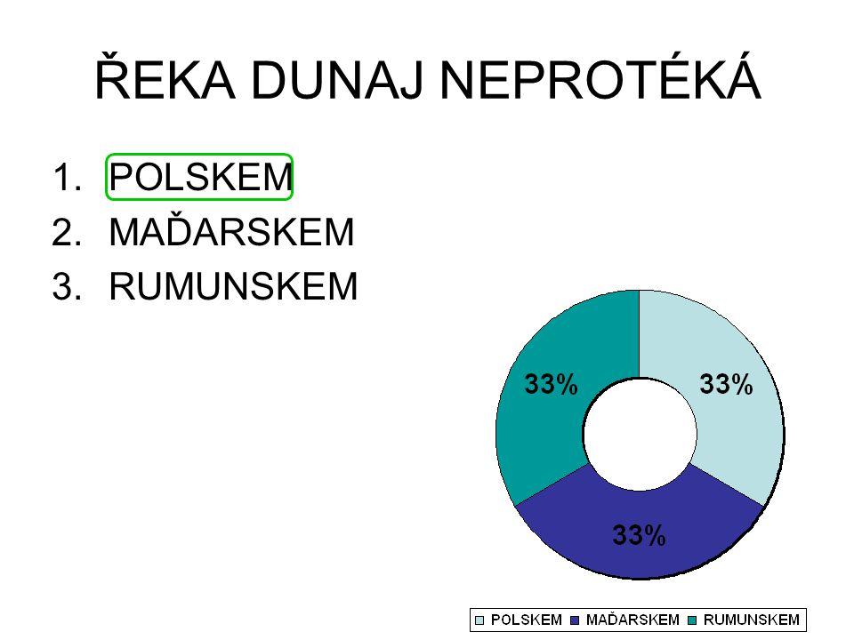 ŘEKA DUNAJ NEPROTÉKÁ 1.POLSKEM 2.MAĎARSKEM 3.RUMUNSKEM