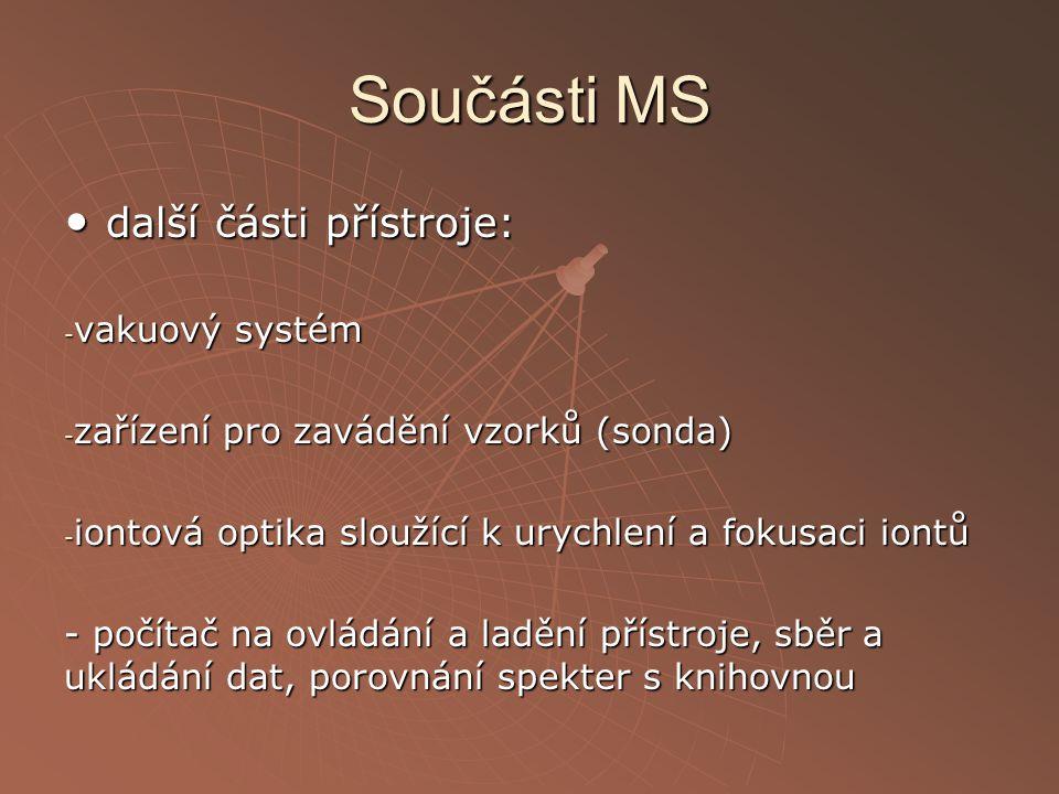 Součásti MS další části přístroje: další části přístroje: - vakuový systém - zařízení pro zavádění vzorků (sonda) - iontová optika sloužící k urychlen