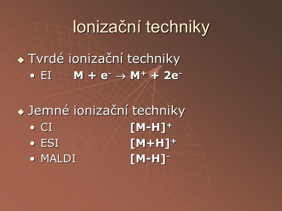 Ionizační techniky  Tvrdé ionizační techniky EI M + e -  M + + 2e -EI M + e -  M + + 2e -  Jemné ionizační techniky CI[M-H] +CI[M-H] + ESI[M+H] +E