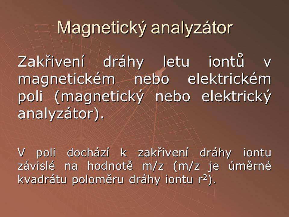 Magnetický analyzátor Zakřivení dráhy letu iontů v magnetickém nebo elektrickém poli (magnetický nebo elektrický analyzátor). V poli dochází k zakřive