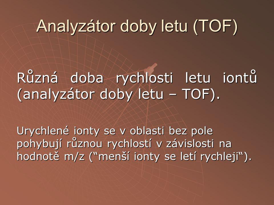 Analyzátor doby letu (TOF) Různá doba rychlosti letu iontů (analyzátor doby letu – TOF). Urychlené ionty se v oblasti bez pole pohybují různou rychlos