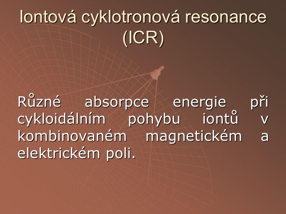 Iontová cyklotronová resonance (ICR) Různé absorpce energie při cykloidálním pohybu iontů v kombinovaném magnetickém a elektrickém poli.