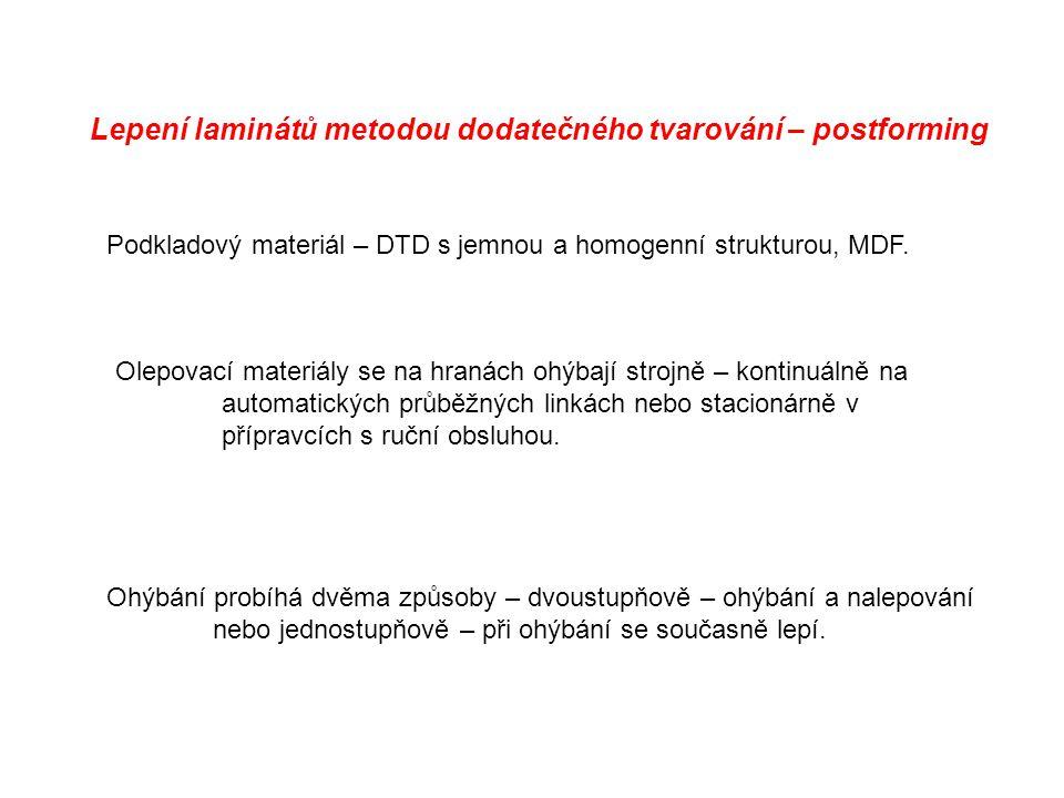 Lepení laminátů metodou dodatečného tvarování – postforming Podkladový materiál – DTD s jemnou a homogenní strukturou, MDF. Olepovací materiály se na