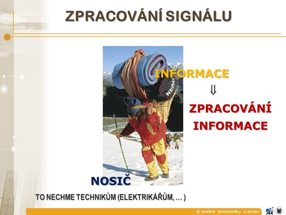 © Institut biostatistiky a analýz ZPRACOVÁNÍ SIGNÁLU NOSIČ TO NECHME TECHNIKŮM (ELEKTRIKÁŘŮM, … ) INFORMACE