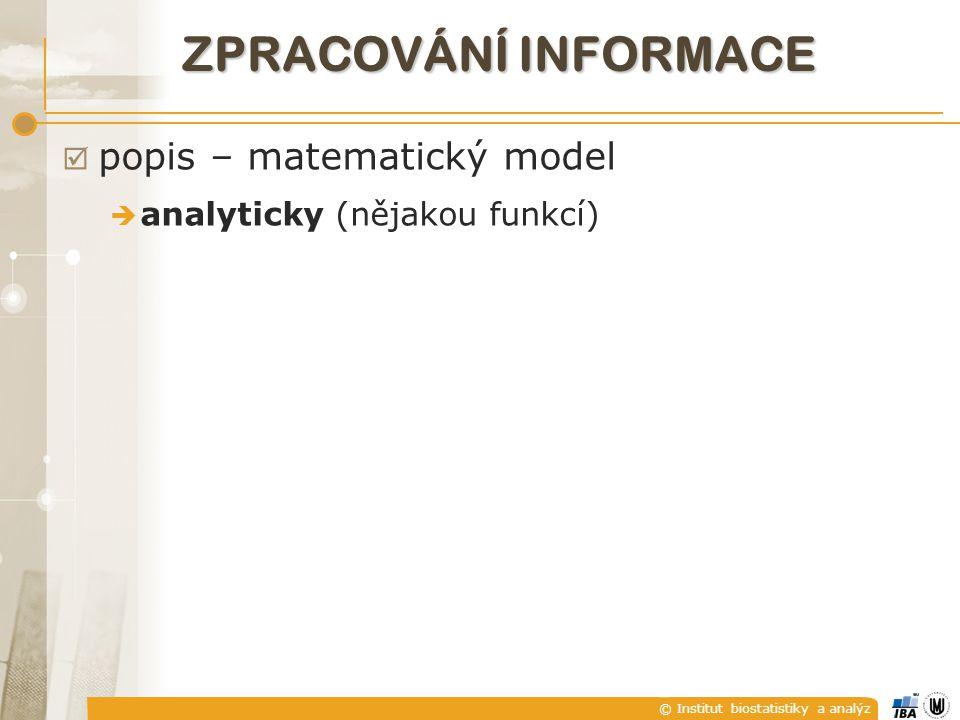 © Institut biostatistiky a analýz ZPRACOVÁNÍ INFORMACE  popis – matematický model