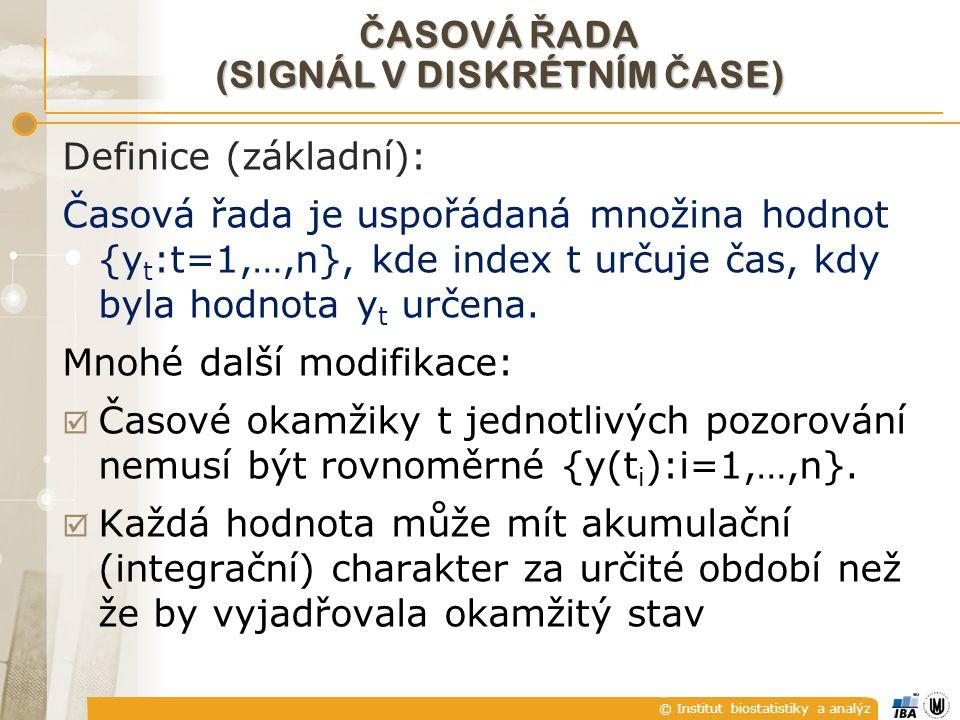 © Institut biostatistiky a analýz Č ASOVÁ Ř ADA (SIGNÁL V DISKRÉTNÍM Č ASE) Definice (základní): Časová řada je uspořádaná množina hodnot {y t :t=1,…,