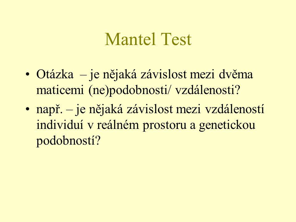 Mantel Test Otázka – je nějaká závislost mezi dvěma maticemi (ne)podobnosti/ vzdálenosti? např. – je nějaká závislost mezi vzdáleností individuí v reá