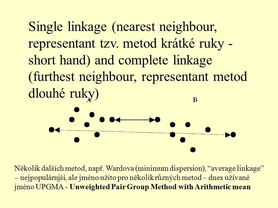 Single linkage (nearest neighbour, representant tzv. metod krátké ruky - short hand) and complete linkage (furthest neighbour, representant metod dlou