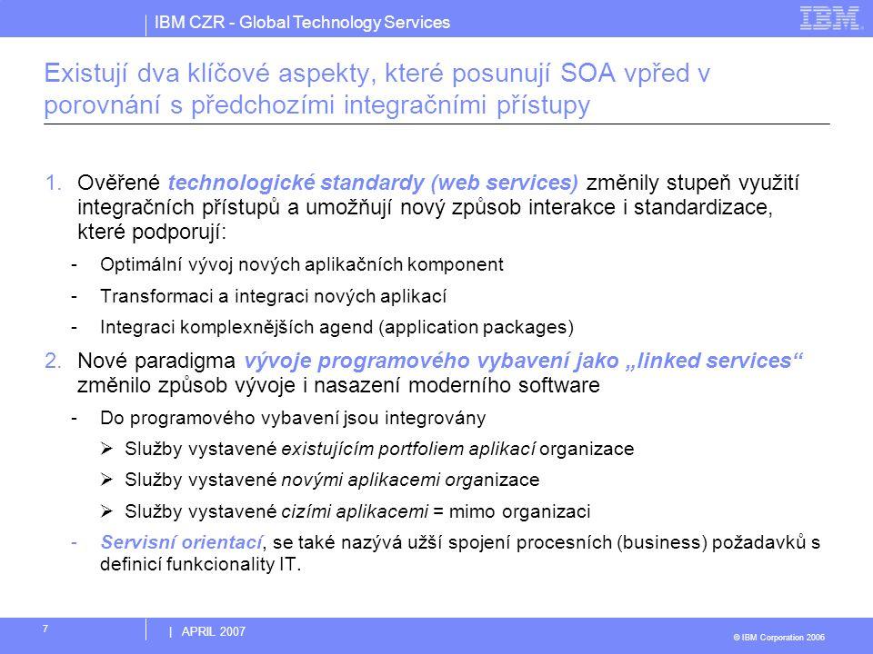 IBM CZR - Global Technology Services © IBM Corporation 2006 | APRIL 2007 7 Existují dva klíčové aspekty, které posunují SOA vpřed v porovnání s předch