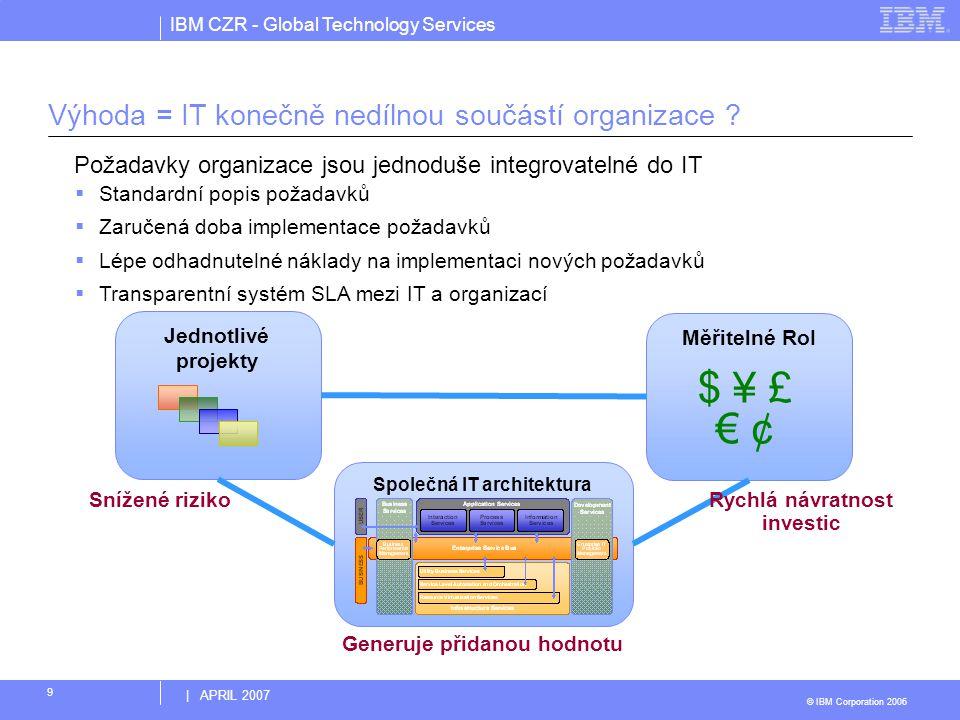 IBM CZR - Global Technology Services © IBM Corporation 2006 | APRIL 2007 9 Výhoda = IT konečně nedílnou součástí organizace ? Společná IT architektura