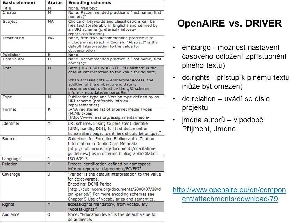 embargo - možnost nastavení časového odložení zpřístupnění plného textu) dc.rights - přístup k plnému textu může být omezen) dc.relation – uvádí se číslo projektu jména autorů – v podobě Příjmení, Jméno http://www.openaire.eu/en/compon ent/attachments/download/79 OpenAIRE vs.