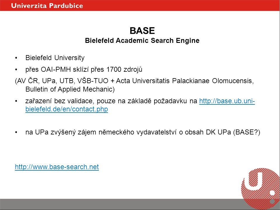 Bielefeld University přes OAI-PMH sklízí přes 1700 zdrojů (AV ČR, UPa, UTB, VŠB-TUO + Acta Universitatis Palackianae Olomucensis, Bulletin of Applied Mechanic) zařazení bez validace, pouze na základě požadavku na http://base.ub.uni- bielefeld.de/en/contact.phphttp://base.ub.uni- bielefeld.de/en/contact.php na UPa zvýšený zájem německého vydavatelství o obsah DK UPa (BASE ) http://www.base-search.net BASE Bielefeld Academic Search Engine