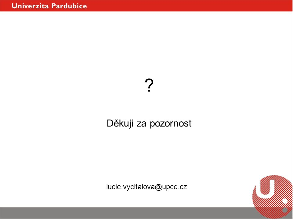 Děkuji za pozornost lucie.vycitalova@upce.cz