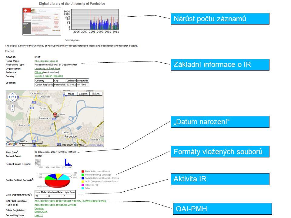 """OpenDOAR (The Directory of Open Access Repositories) JISC, University of Nottingham necelé 2000 záznamů, z ČR 4 (VŠB-TUO, UPa, 2x sborník Infora) vyhledávání IR dle oboru, země, SW, typu dokumentů, typu IR vyhledávání v obsahu IR informace o OA politikách grafické výstupy bez registrace (oprava záznamu přes """"Suggest a repository ) http://www.opendoar.org"""