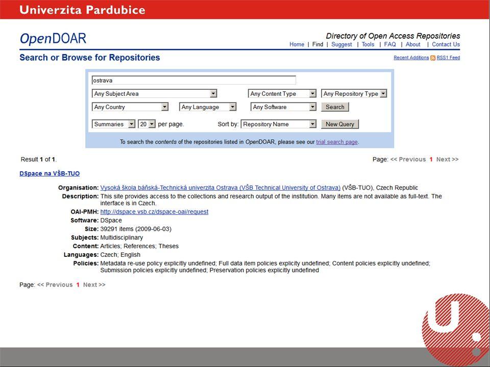 výsledek projektu Evropské komise (2006-2009) portál zpřístupňující volně dostupný obsah evropských repozitářů z ČR pouze AV ČR přísná pravidla pro zapojení (Driver guidelines) vytvoření účtu a registrace repozitáře (odsouhlasení administrátorem IR) v případě DSpace, vidí DRIVER jednotlivé kolekce, pro indexaci celého IR je potřeba vytvořit speciální set online validace dat dobrá komunikace http://www.driver-repository.eu/ DRIVER (Digital Repository Infrastructure Vision for European Research)