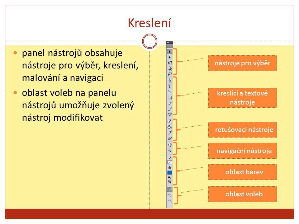 Kreslení panel nástrojů obsahuje nástroje pro výběr, kreslení, malování a navigaci oblast voleb na panelu nástrojů umožňuje zvolený nástroj modifikovat nástroje pro výběr kreslící a textové nástroje retušovací nástroje navigační nástroje oblast barev oblast voleb