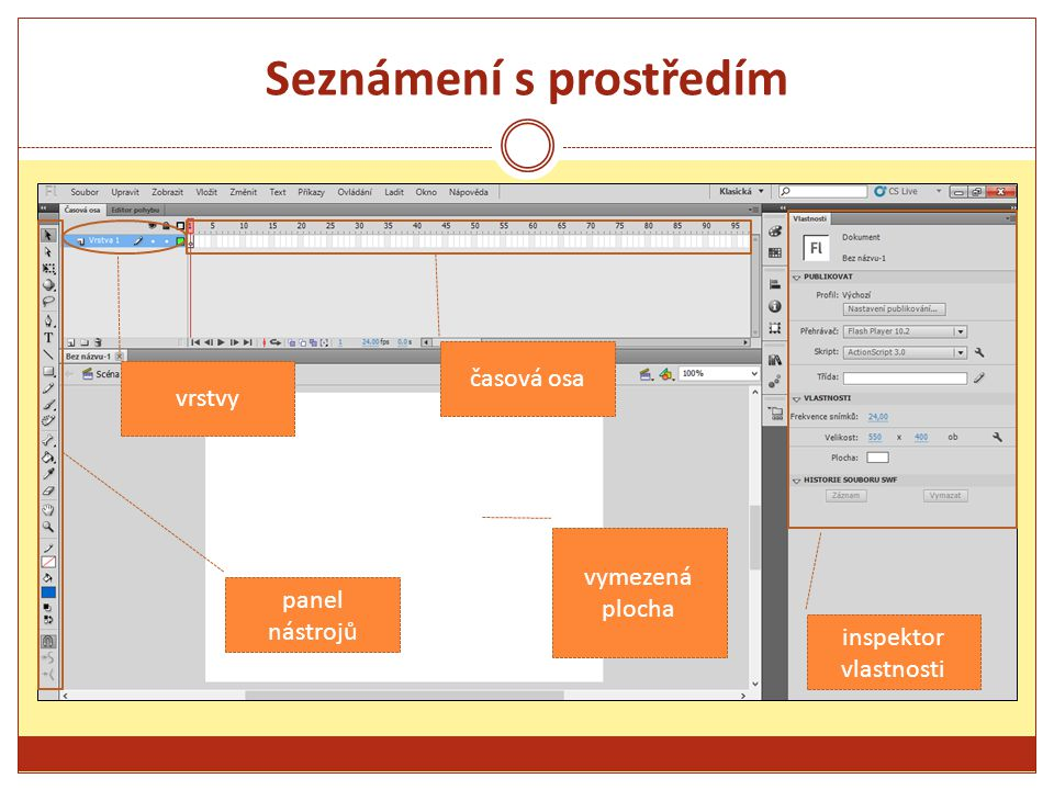 Seznámení s prostředím vrstvy časová osa panel nástrojů inspektor vlastnosti vymezená plocha