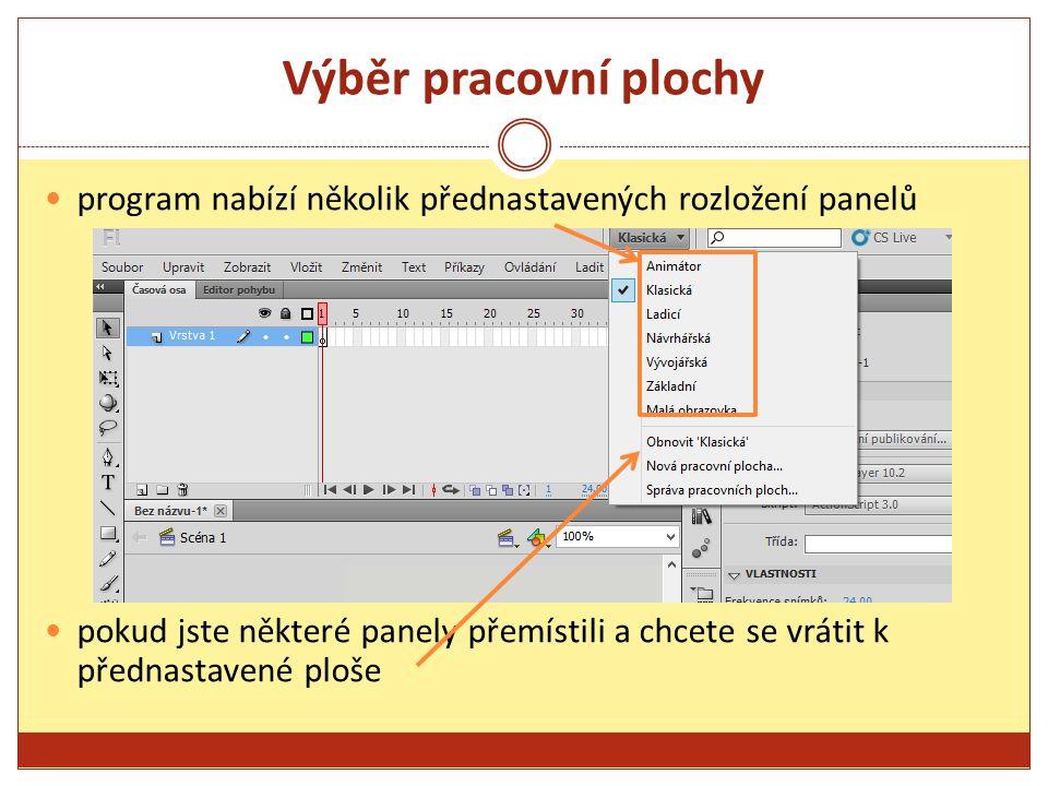 Vymezená plocha je bílý obdélník uprostřed jedná se o místo, na které se diváci dívají obsahuje text, obrázky a video, které se mají objevit na obrazovce, přesunem dovnitř a ven z vymezené plochy se objevují v zorném poli diváků kolem bílé plochy je šedá oblast – ta se nazývá pracovní plocha v pracovní ploše je možné rozmístit prvky, které jsou neviditelné pro diváka