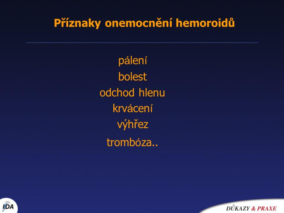 Příznaky onemocnění hemoroidů p á len í bolest odchod hlenu krv á cen í výhřez tromb ó za..