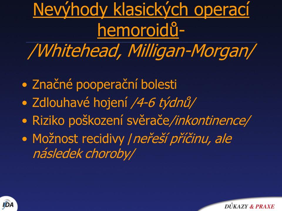 Nevýhody klasických operací hemoroidů- /Whitehead, Milligan-Morgan/ Značné pooperační bolesti Zdlouhavé hojení /4-6 týdnů/ Riziko poškození svěrače/in