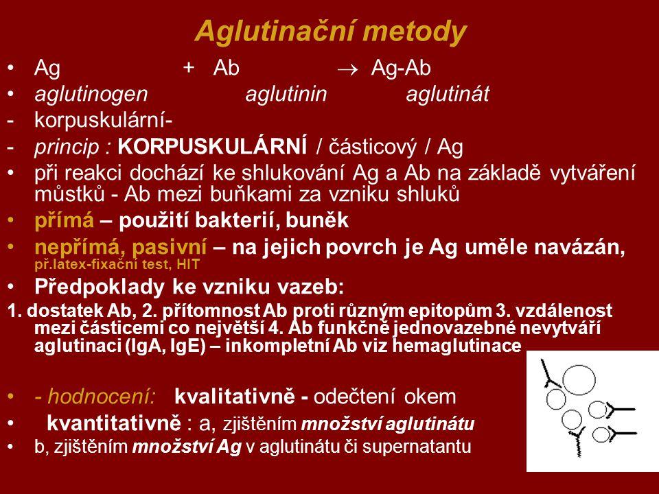 Aglutinační metody Ag + Ab  Ag-Ab aglutinogen aglutinin aglutinát -korpuskulární- -princip : KORPUSKULÁRNÍ / částicový / Ag při reakci dochází ke shl