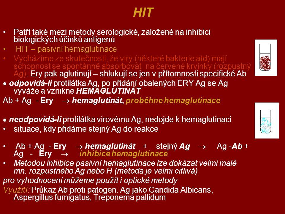 HIT Patří také mezi metody serologické, založené na inhibici biologických účinků antigenů HIT – pasivní hemaglutinace Vycházíme ze skutečnosti, že vir