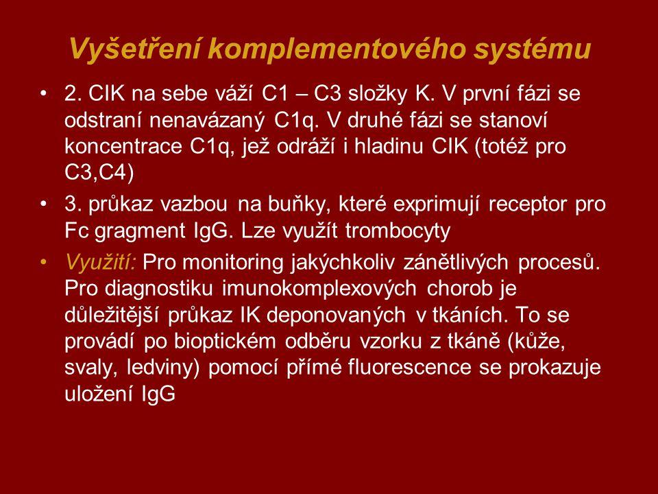 Vyšetření komplementového systému 2. CIK na sebe váží C1 – C3 složky K. V první fázi se odstraní nenavázaný C1q. V druhé fázi se stanoví koncentrace C