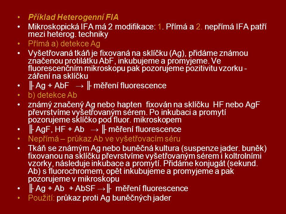 Příklad Heterogenní FIA Mikroskopická IFA má 2 modifikace: 1. Přímá a 2. nepřímá IFA patří mezi heterog. techniky Přímá a) detekce Ag Vyšetřovaná tkáň