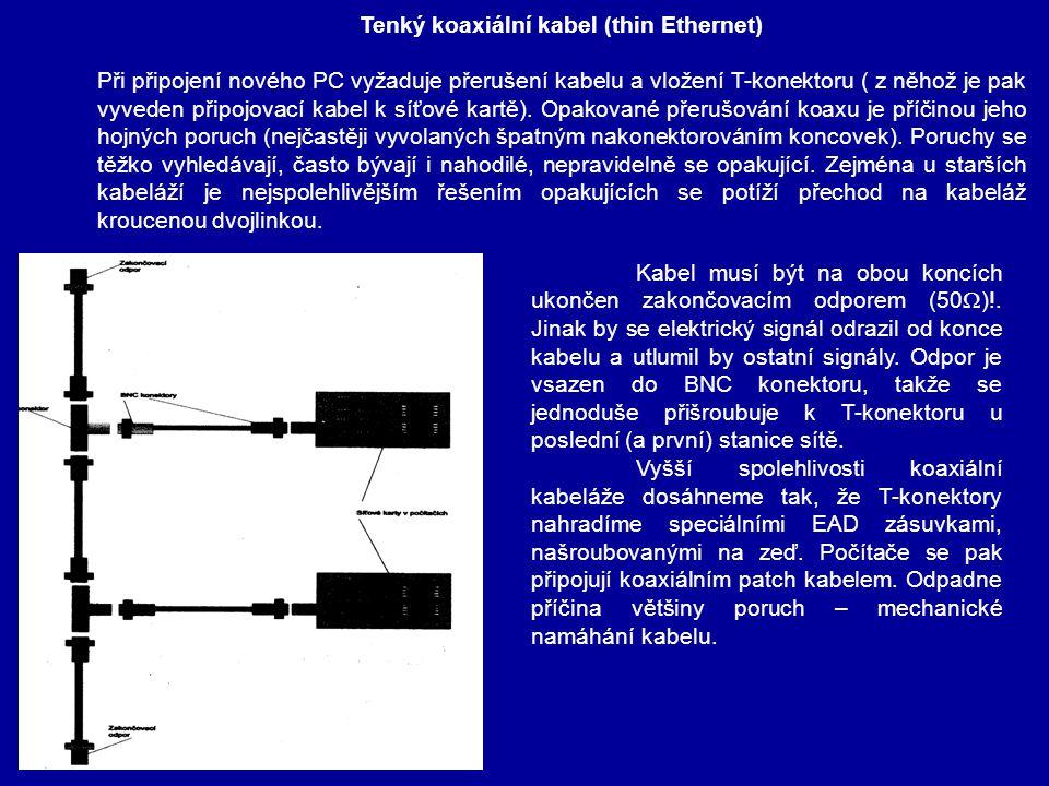 Kroucená dvojlinka ( twisted pair cable ) Je odvozena od telefonního kabelu a dnes je nejrozšířenějším vodičem v sítích LAN.