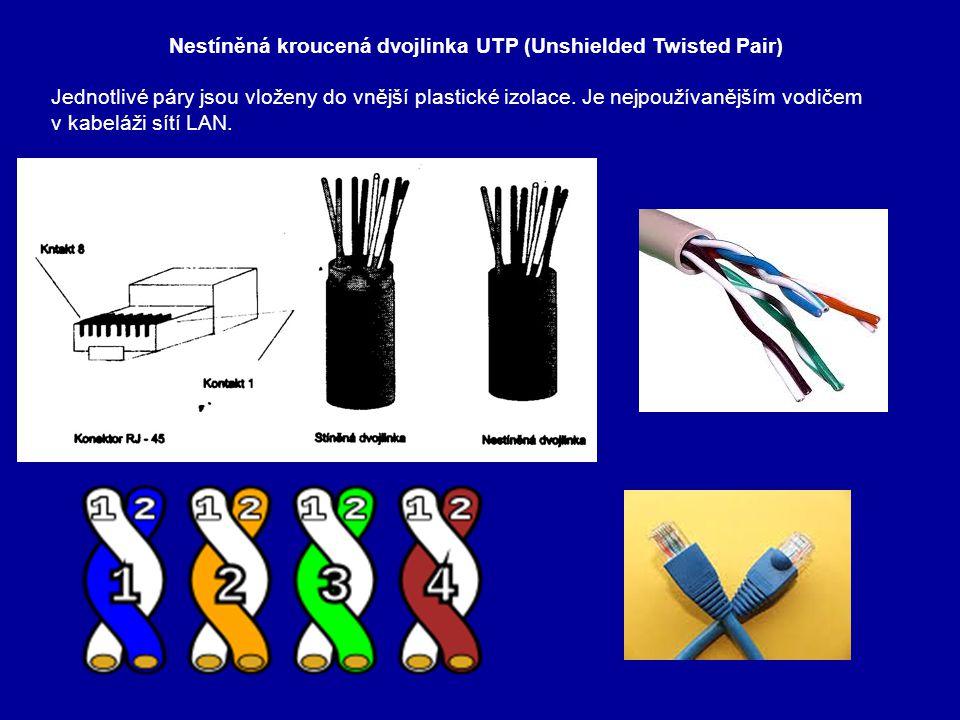 Stíněná kroucená dvojlinka STP (Shielded Twisted Pair) Od nestíněného kabelu se liší kovovým opletením, které zvyšuje jeho ochranu proti vnějšímu rušení.