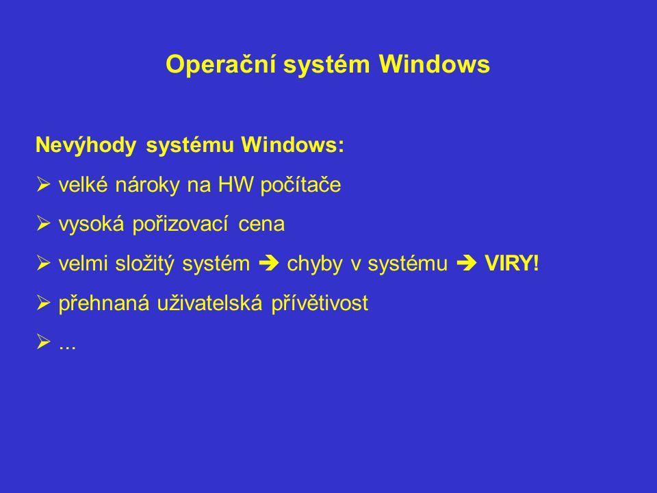 Operační systém Windows Nevýhody systému Windows:  velké nároky na HW počítače  vysoká pořizovací cena  velmi složitý systém  chyby v systému  VI