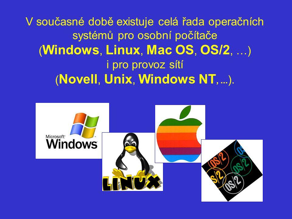 V současné době existuje celá řada operačních systémů pro osobní počítače ( Windows, Linux, Mac OS, OS/2, …) i pro provoz sítí ( Novell, Unix, Windows