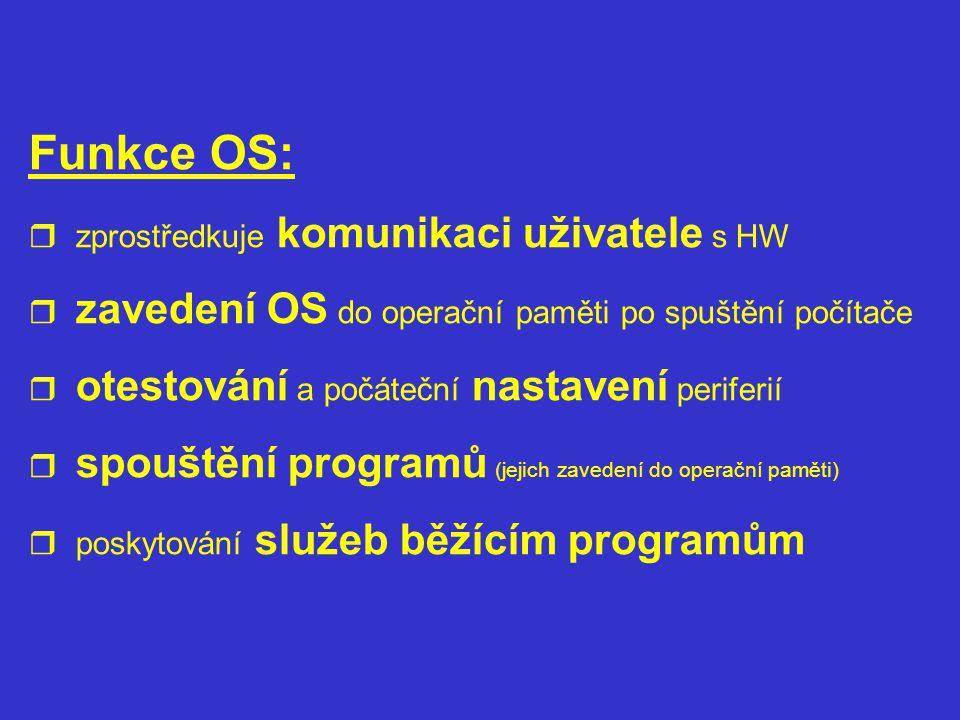 Funkce OS:  zprostředkuje komunikaci uživatele s HW  zavedení OS do operační paměti po spuštění počítače  otestování a počáteční nastavení periferi