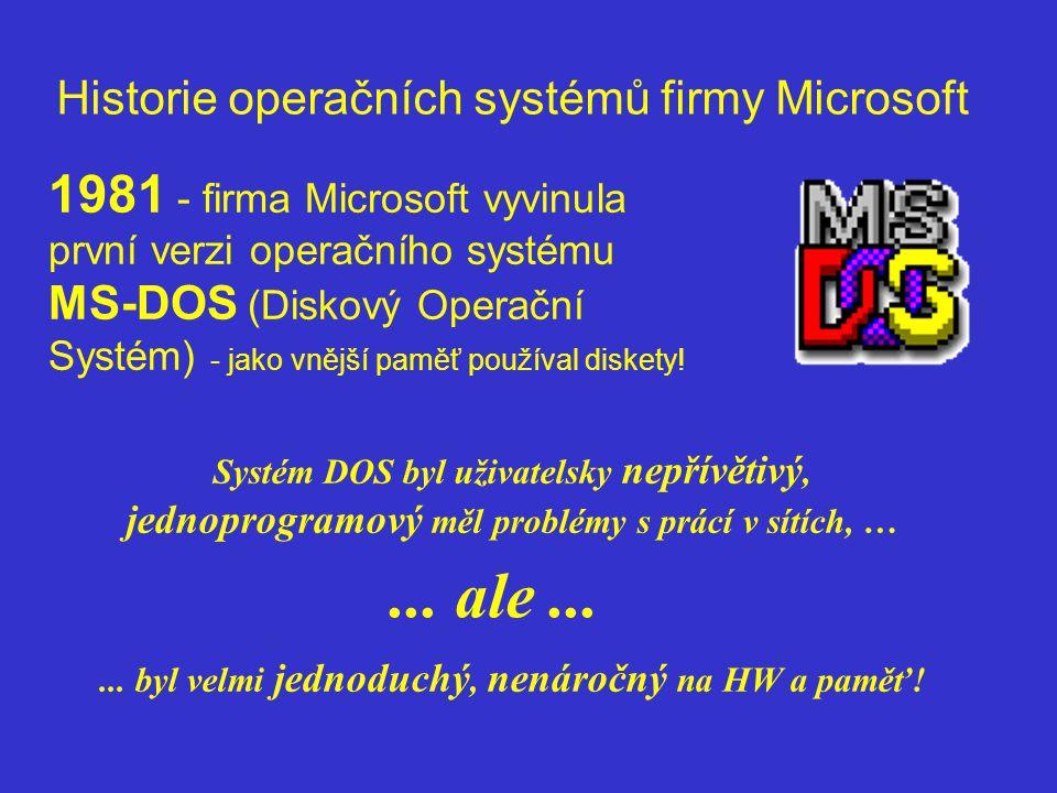 Historie operačních systémů firmy Microsoft 1981 - firma Microsoft vyvinula první verzi operačního systému MS-DOS (Diskový Operační Systém) - jako vně