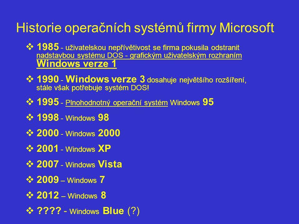  1985 - uživatelskou nepřívětivost se firma pokusila odstranit nadstavbou systému DOS - grafickým uživatelským rozhraním Windows verze 1  1990 - Win