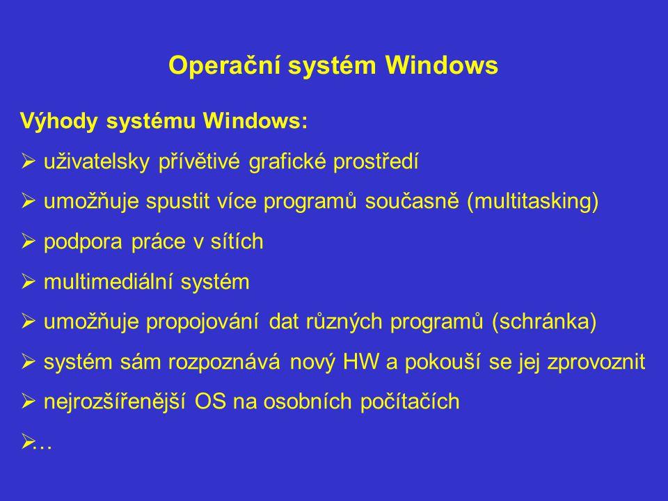 Operační systém Windows Výhody systému Windows:  uživatelsky přívětivé grafické prostředí  umožňuje spustit více programů současně (multitasking) 