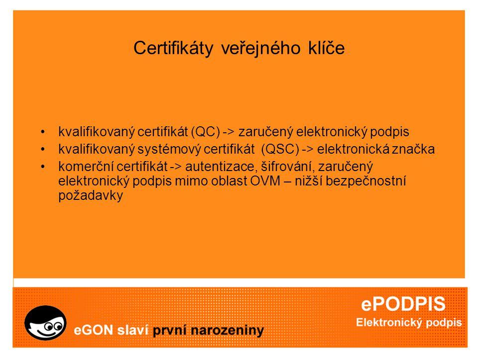 Certifikáty veřejného klíče kvalifikovaný certifikát (QC) -> zaručený elektronický podpis kvalifikovaný systémový certifikát (QSC) -> elektronická značka komerční certifikát -> autentizace, šifrování, zaručený elektronický podpis mimo oblast OVM – nižší bezpečnostní požadavky