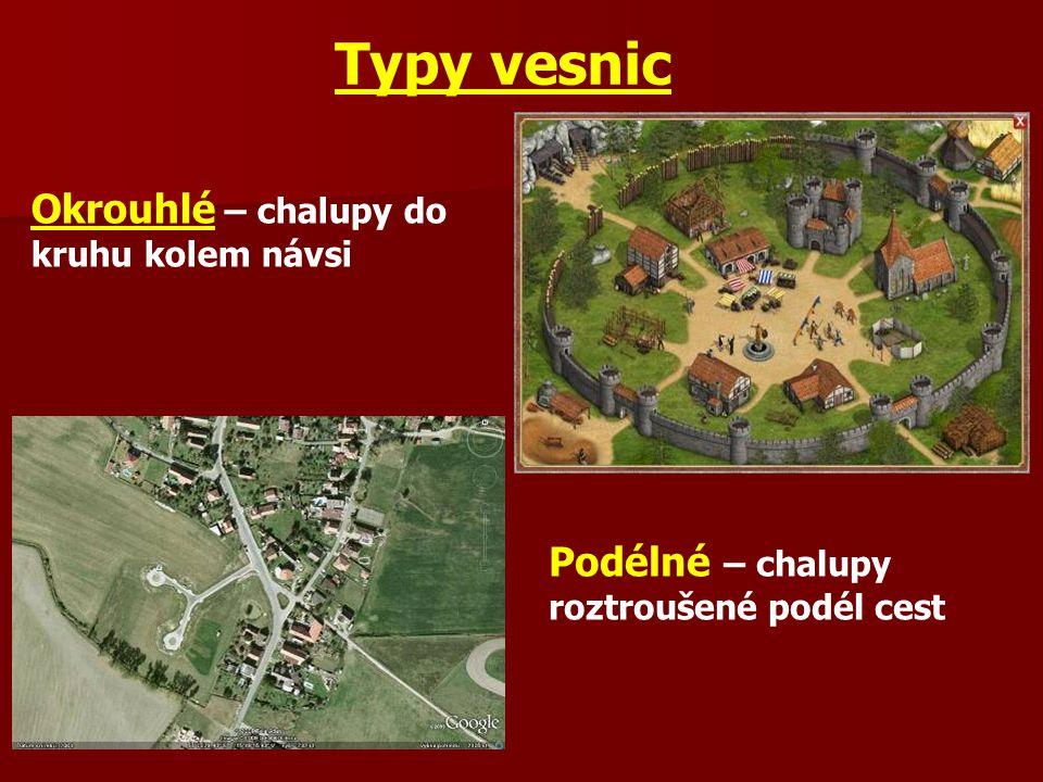 Stavby ve vsi Hrad – sídlo vyššího (bohatého) šlechtice Tvrz – sídlo nižšího (chudšího) šlechtice