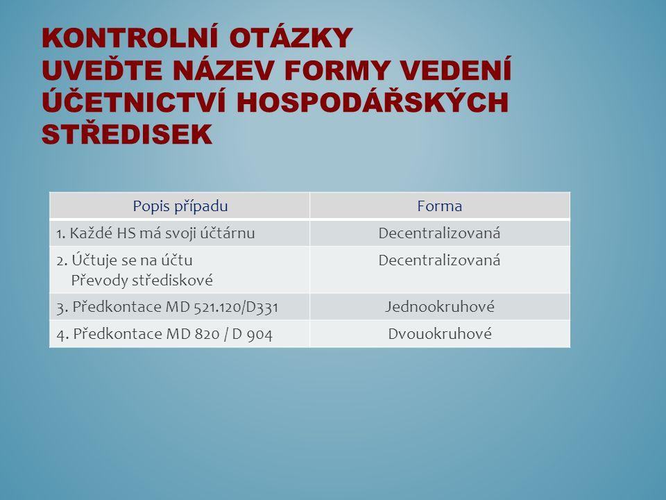 Popis případuForma 1. Každé HS má svoji účtárnuDecentralizovaná 2.