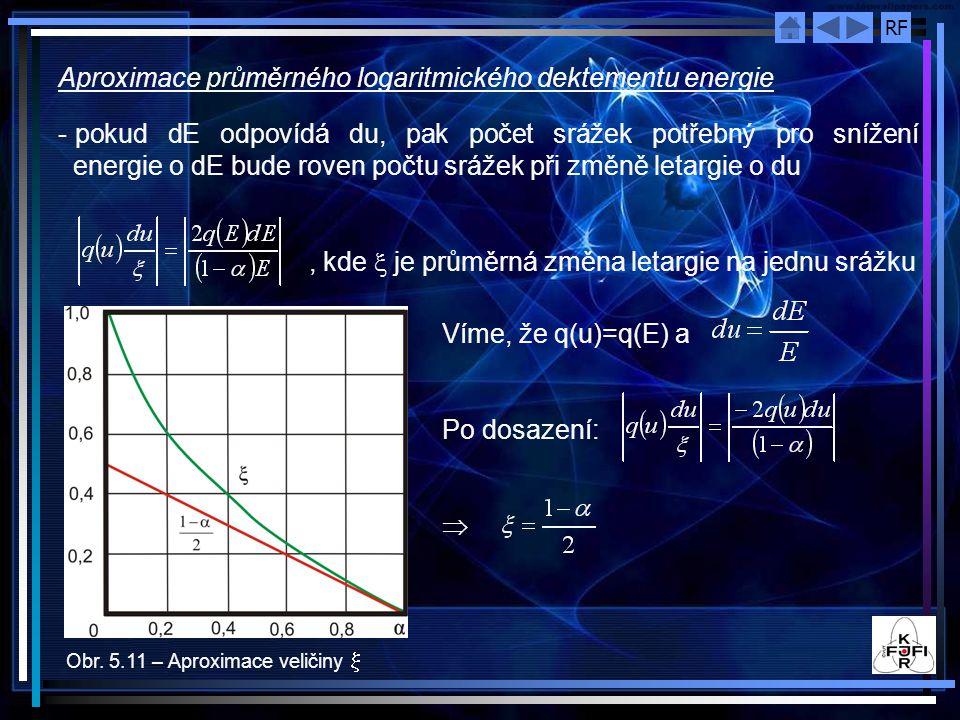 RF Aproximace průměrného logaritmického dektementu energie - pokud dE odpovídá du, pak počet srážek potřebný pro snížení energie o dE bude roven počtu srážek při změně letargie o du, kde  je průměrná změna letargie na jednu srážku Obr.